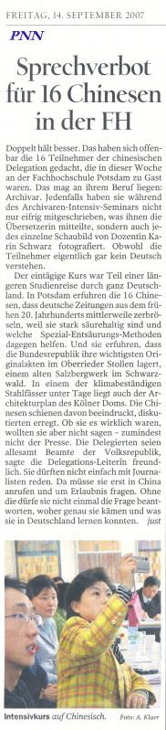 Pressemeldung in den Potsdamer Neuesten Nachrichten, 14.9.2007