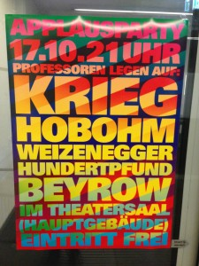 Plakat zur Party (DJ's: Krieg, Hobohm, ...)