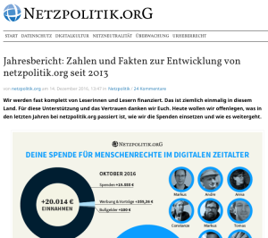 Website des Blogs Netzpolitik
